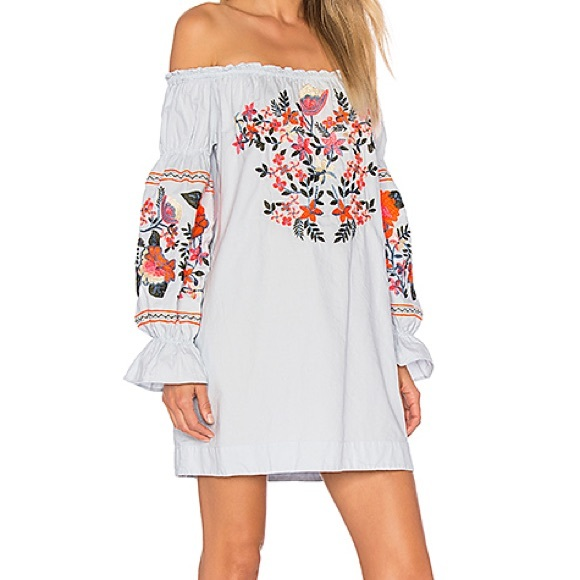 0566222eee427 Free People Fleur Du Jour Blue Off Shoulder Dress